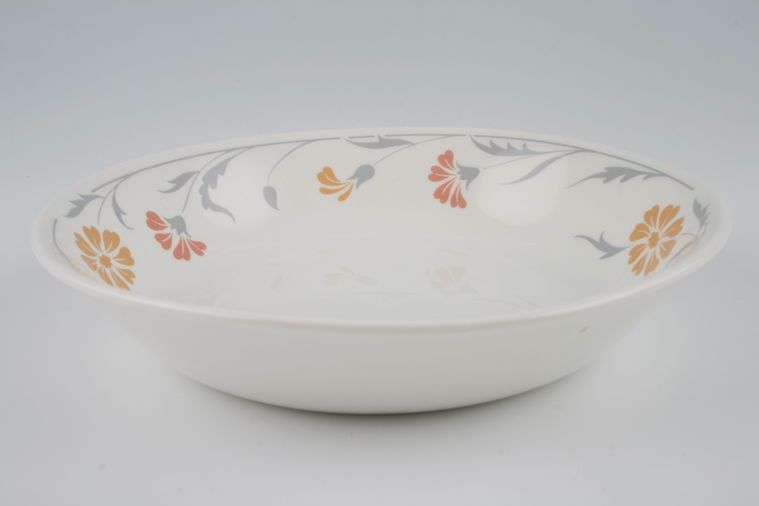 Johnson Brothers - Lugano - Orange and terracotta flowers - Oatmeal / Cereal / Soup