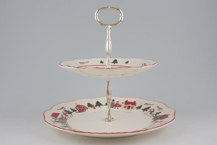 2 Tier Cake Stand Christmas Village by Masons & No obligation search for Masons - Christmas Village - 2 Tier Cake Stand